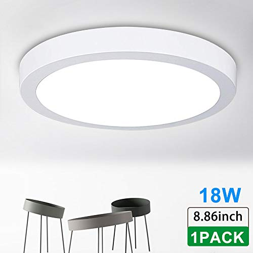 Surface Mounted Ceiling Lights 18W LED Flush Mount Ceiling Light Round 8.86 1400LM Replace120W Halogen Bulb Equivalent Daylight White 5000K Wall Fixture Lamps for Kitchen, Dinning Room, Bathroom