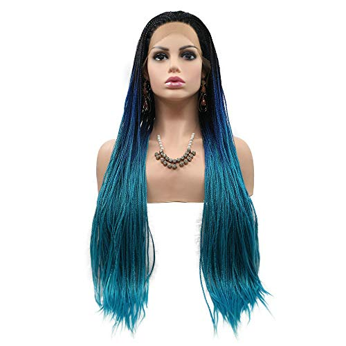 """Drag Queen Braids Wigs Long Afro America Box Braided Synthetic Hair Black Roots Ombre Dark Blue Light Blue 3 Tone Handmade Lace Front Wigs for Party Holiday 26"""""""