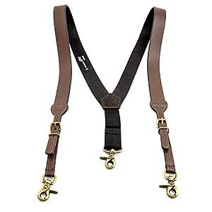 Men's Smooth Leather Suspenders Adjustable Elastic Strap Scissor Hook Snaps Y Backed