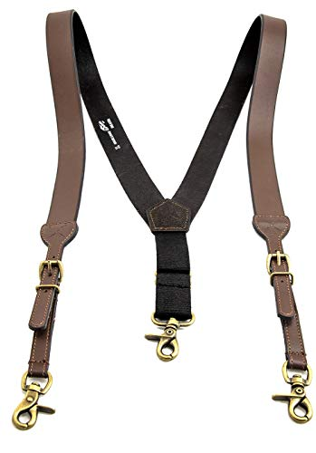 Men's Smooth Leather Suspenders Adjustable Elastic Strap Scissor Hook Snaps Y Backed (Brown, X-Large) by Southwestern Equine