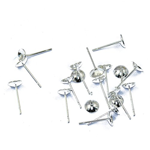 MagiDeal 20 pcs Earring Earstud Post Pin Flat-Pad Findings Brass Silver Pated Round ()