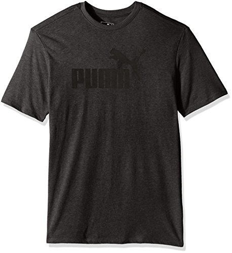 PUMA Men's No 1 Logo Perferated Graphic T-Shirt, Dark Gray Heather/Black, XX-Large