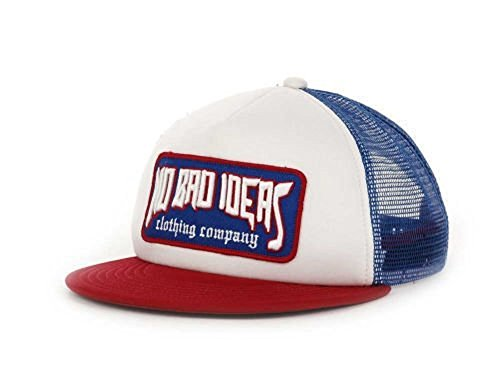 96bae362ebc04 No Bad Ideas NBI Foam Flat Brim Trucker Mesh Snapback Hat Cap OSFA (White
