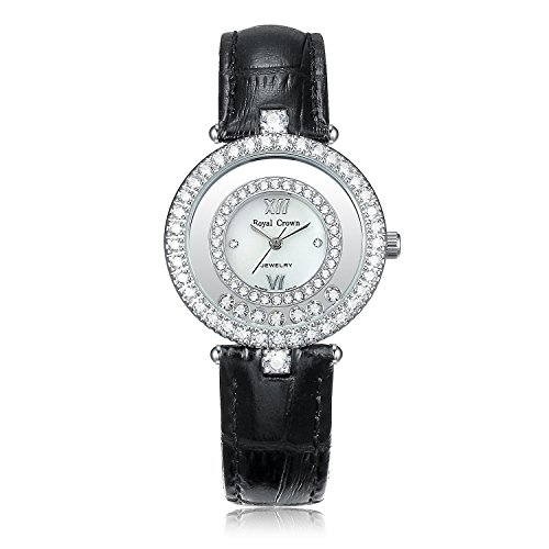 Royal Crown Women's Fashion Leather Wrist Watches with Austria Drill Japanese Quartz Movement