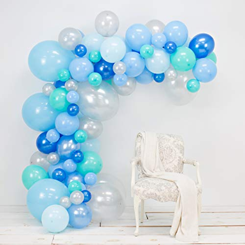 Junibel Balloon Arch & Garland Kit | 90 Blue, Silver & Tiffany Sm to XLarge Balloons | Glue Dots | 17' Decorating Strip | Wedding, Boy Baby Shower, Graduation, Anniversary & Organic Party Decorations ()