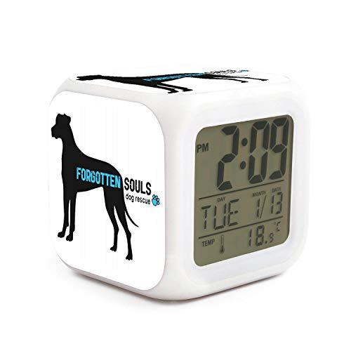 SDDFE Alarm Clock Police Dog Rescue Loud Alarm clockboys Alarm Clock Well Functional Large Easy to Set up Seven Color Lights Digit Display Alarm Clock ()