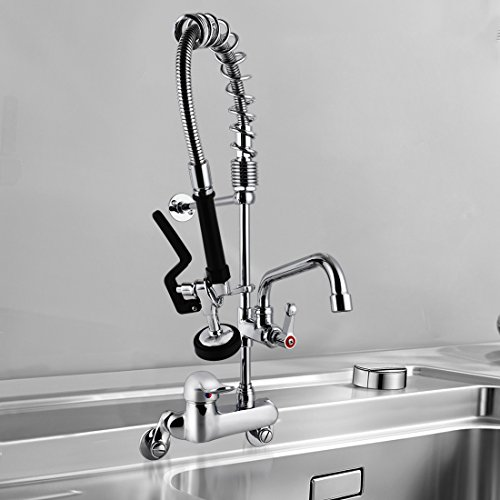 MS 4-8 Inch Adjustable Center Wall Mount 26'' Height Commercial Kitchen Sink Faucet Brass Mini Pre Rinse Unit With Pull Down Spray And 8 Inch Add on Spout ,Single Handle(M6810-1P) by MS (Image #1)