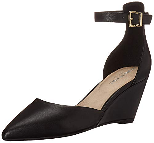 (Kenneth Cole New York Women's Ellis Wedge Pump with Ankle Strap Shoe, Black, 9 M US)