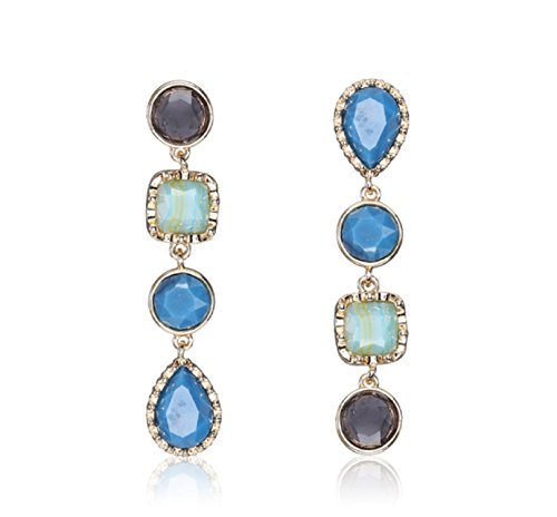 Luxury Colorful Geometric big gem Dangle earrings Statement Long chain crystal drop Earrings for women Jewelry (Blue) (Pools Crystal Blue Patios And)