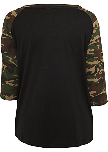 Urban Classics TB733 Ladies 3-4 Contrast Raglan Tee Regular Fit Woman L Black Woodcamo Nero