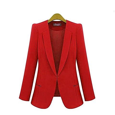 Rbspt Womens Casual Basic Work Office Tuxedo Blazer Boyfriend Jacket Red 3X - Office Basics