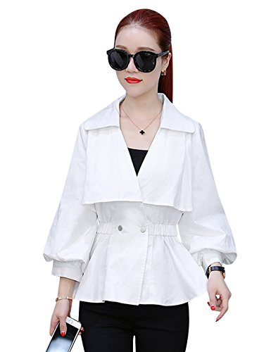 Yeokou Women's Casual Slim Puff Sleeve Two Button Short Cotton Jacket ()