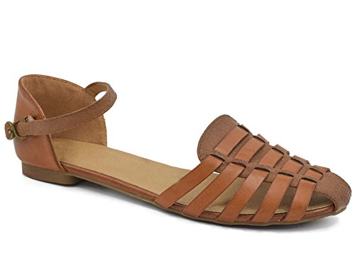 MaxMuxun Womens Roman Ankle Strap Cage Closed Toe Camel Flat Sandals Size 9 by MaxMuxun (Image #7)