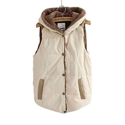 YIHIGH Womens Sleeveless Fleece Jacket Vest - Button Slim Waistcoat Vest Jacket Hooded Winter Gilet Beige