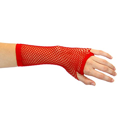 1980's Cindy Lauper Costume Accessory Long Fishnet Gloves - Red