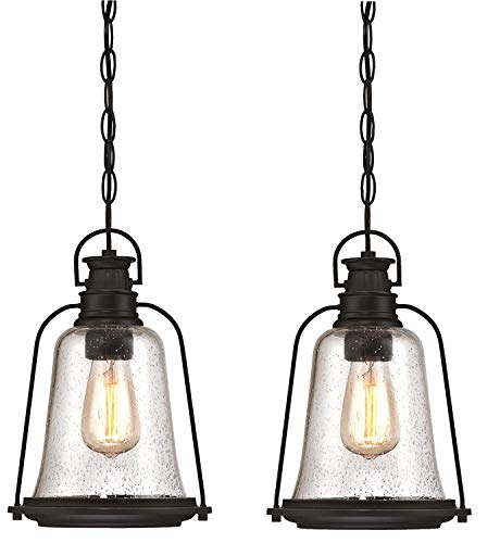 Lighting Outdoor Medium Pendant (Westinghouse Brynn One-Light Outdoor Wall Fixture, Oil Rubbed Bronze Finish with Highlights and Clear Seeded Glass (Outdoor Pendant 2 Pack))