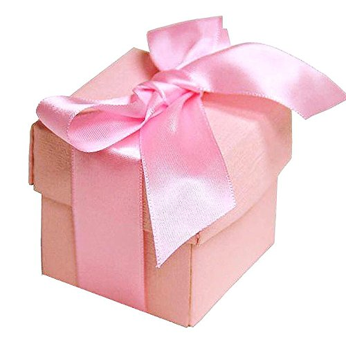 BalsaCircle 100 Pink Cute Wedding Favors Boxes with Lids for Wedding Party Birthday Candy Gifts Decorations Supplies -
