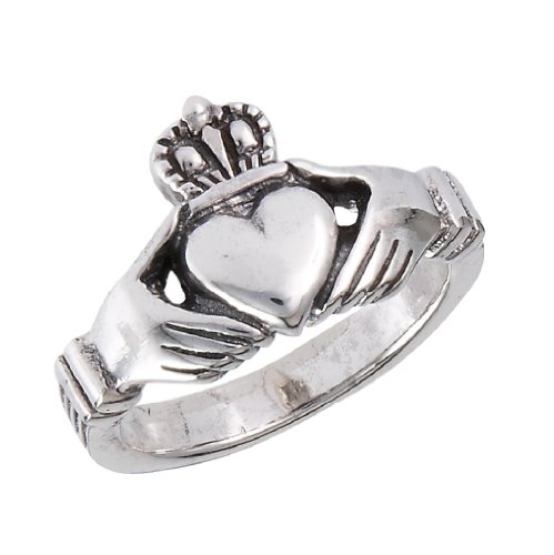 .925 Sterling Silver Traditional Claddagh Celtic Ring, Size 8
