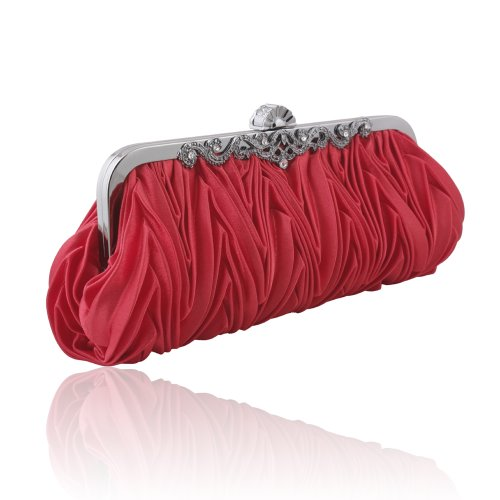 Satin Evening Handbag Purse Clutch Ruffled with Rhinestones, Red, Bags Central