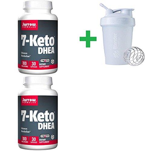 (Jarrow Formulas, 7-Keto DHEA, 100 mg, 30 Capsules(2 Packs)+ Assorted Sundesa, BlenderBottle, Classic With Loop, 20 oz)
