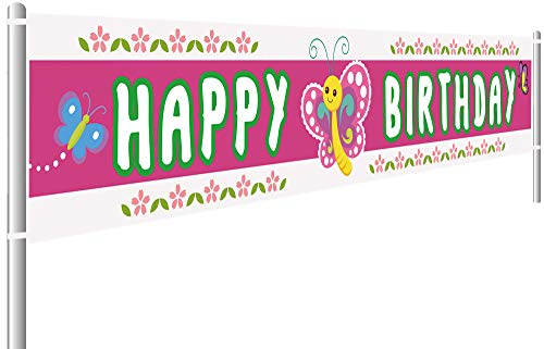 Colormoon Large Butterfly Happy Birthday Banner, Butterfly Birthday Party Decorations Supplies, Outdoor Indoor (9.8 x 1.5 feet)