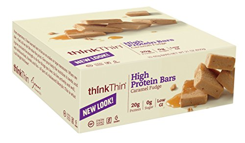 thinkThin Protein Bars, Caramel Fudge, sans gluten, Bars 2,1 onces (paquet de 10)