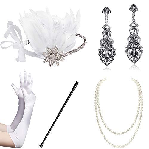 BABEYOND 1920s Flapper Accessories Set Gatsby Costume Accessories 20s Flapper Headband Pearl Necklace Gloves Cigarette Holder (Set-15) White -