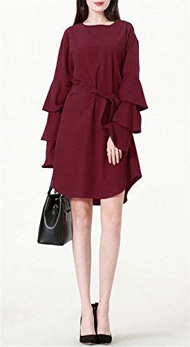 Betusline Lâche Manches Évasées Ébouriffées Solides Musulman Mini Robe Rouge Vin Femmes