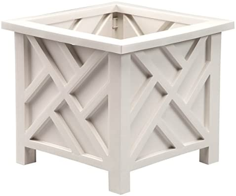 Miles Kimball 329156 Chippendale Planter Box, Plant Holder for Patio and Lawn, 14 sq. x 13 H Overall, White