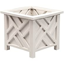 Miles Kimball Chippendale Planter for Potted Plants, White