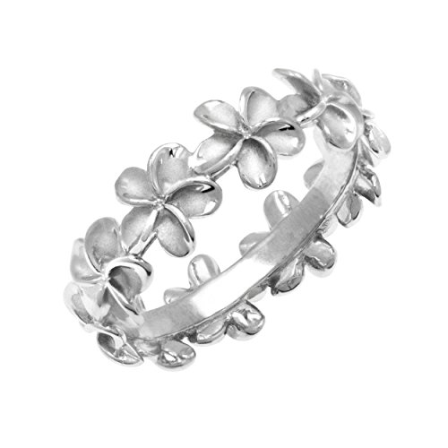 Plumeria Eternity Ring Sterling Silver