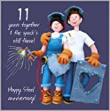 11th Wedding Anniversary Card by Holy Mackerel