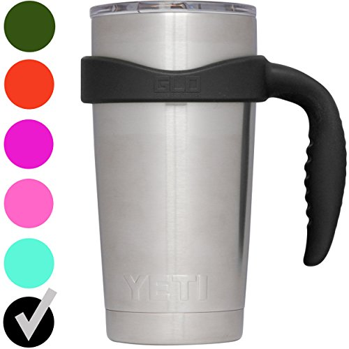 Grab Life Outdoors (GLO) - Handle For YETI Rambler 20 Oz Tumbler Cup - Fits YETI, Ozark Trail & more - Handle Only (Black)