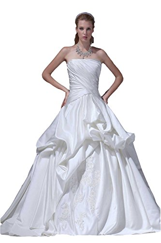 Angel Formal Dresses pick ups tier satin wedding dress(18,White)