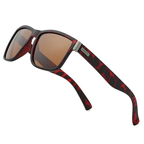 DUBERY Vintage Polarized Sunglasses for Men Women Retro Square Sun Glasses D518, Brown