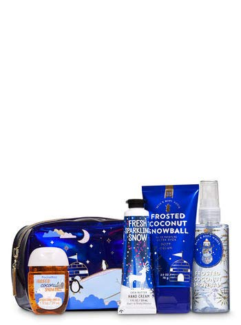 Bath and Body Works FROSTED COCONUT SNOWBALL Holiday Mini Cosmetic Bag Gift Set - Ultra Shea Body Cream - Fine Fragrance Mist - Hand Cream & a PocketBac Hand Sanitizer