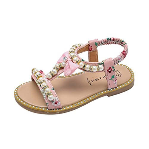 Infant Toddler Baby Girl Sandals Bow Pearl First Walker Strappy Roman Shoes Princess Slipper (Age: 4.5-5T, Pink)