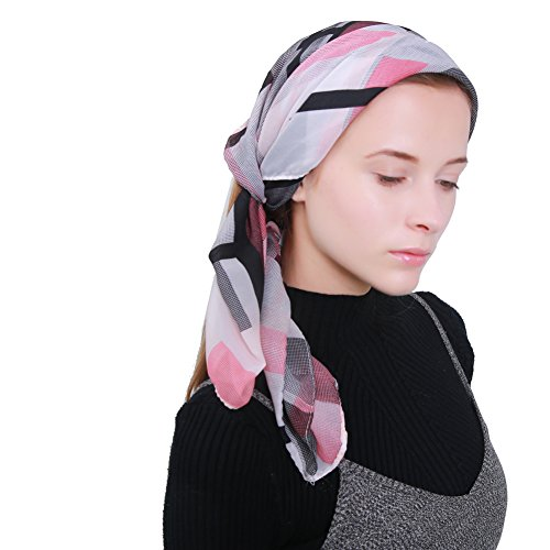 Review MissShorthair Women's Light Weight Colorful Painting Plaid Tartan Infinity Scarf(Pink and Black)