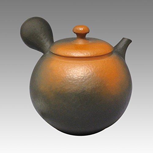 TOKYO MATCHA SELECTION - Tokoname pottery Kyusu teapot - YOSHIKI - Vermilion Clap 320cc/ml - ceramic fine mesh with wooden box [Standard ship by EMS: with Tracking & Insurance]