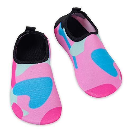(Kids Water Swim Shoes Barefoot Aqua Socks Shoes Quick Dry Non-Slip Baby Boys & Girls (Camouflage-Pink,)