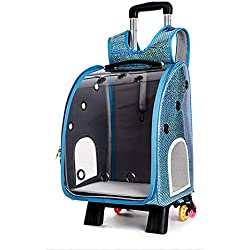 Pet Travel Bag,Pets Trolley Carrier Case Portable Carrier Backpack,Luxury Travel Bag Strollers Breathable Transparent for Dogs Cats Animals,Blue,Withtierod