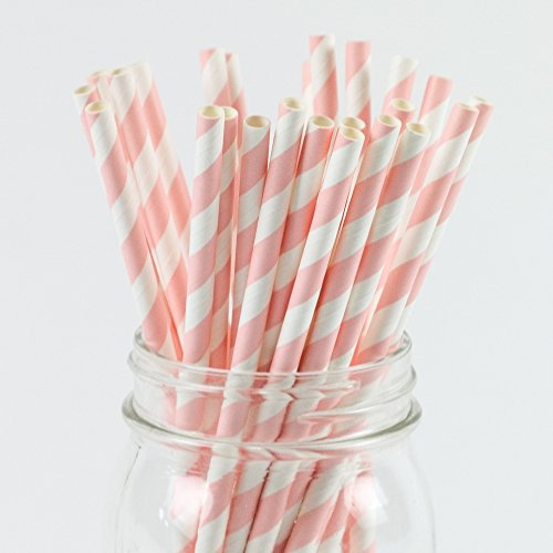 Paper Straws Pale Pink Striped Pattern - Eco Friendly Biodegradable Wedding Straws - Dozens of Designs & Perfect For Any Party! Frozen Dessert Supplies - Fast Shipping! 50 Count ()