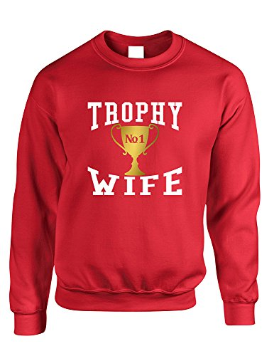 (Allntrends Adult Sweatshirt Trophy Wife Cool Xmas Love Holiday Gift (L, Red))