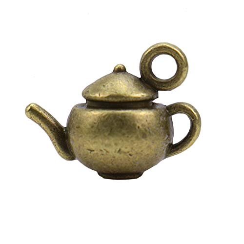 Monrocco 20 pcs 3D Teapot Charms Pendants for Jewelry Making Crafting 18x14x10mm (Antique Bronze)
