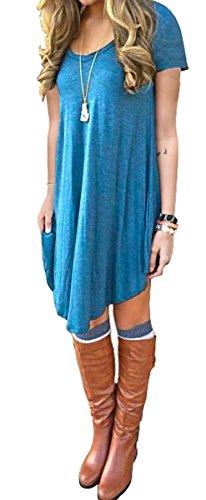 Women's Short Sleeve Casual Loose T-Shirt Dress Blue L