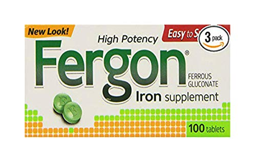 Fergon Iron Supplement, Tablets, 100 Count (Pack of 3)