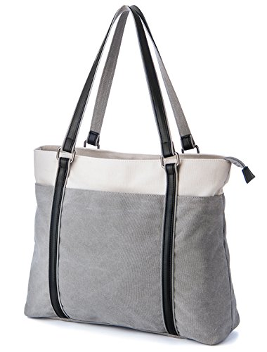 Laptop Bag for Women, GRM 15.6 Inch Tote Bag, Womens Lightweight Canvas Tote Bag Casual Shoulder Bag with Multi-Pocket (Grey)