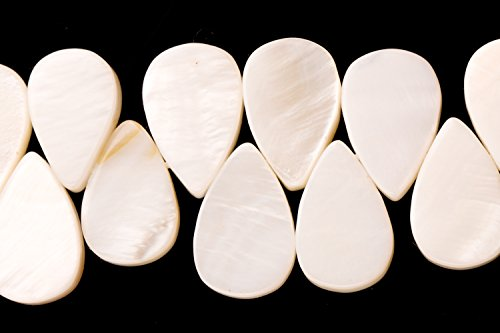 - White Mother-Of-Pearl Tear Drop Plate Side Drilled Shell Beads Size:9x13mm