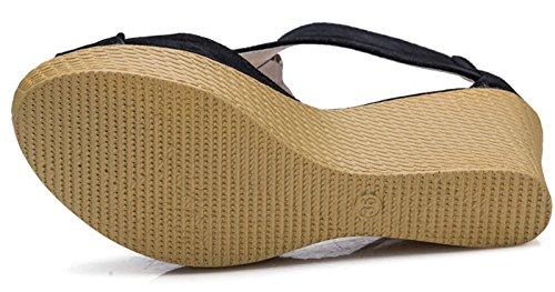Donalworld Fille Plate-forme Chaussures Peep Poisson Tête Haute Talon Sandales À Lanières Stpblack