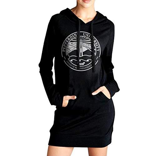 QTHOO Women's Long Sleeve Pepperdine University Seal Long Pullover Hooded Sweatshirt with Pocket Black ()